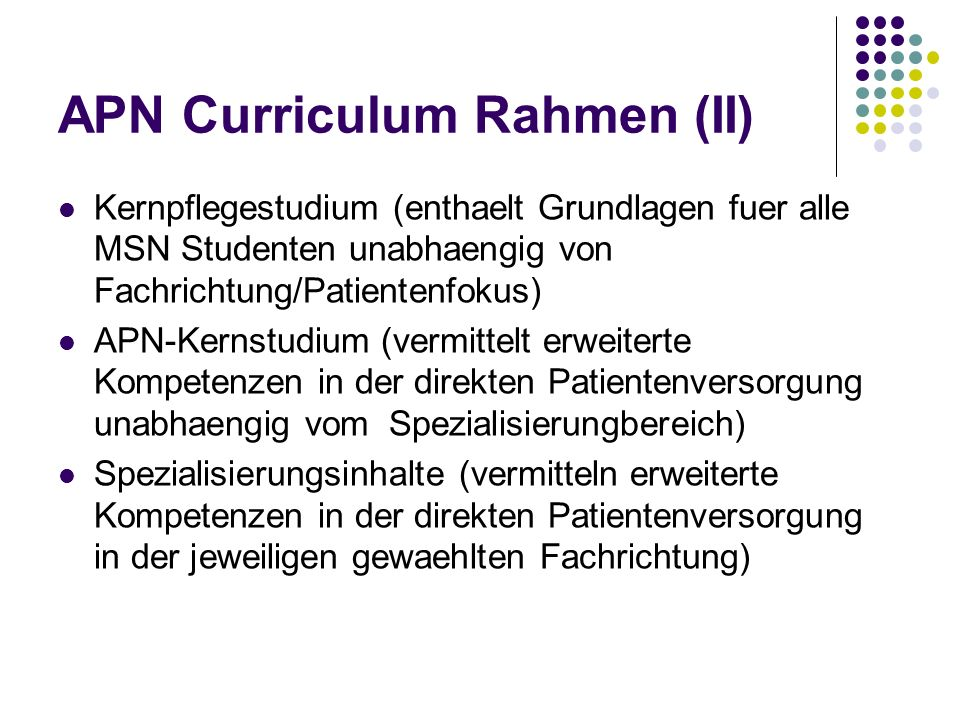 APN Curriculum Rahmen (II)