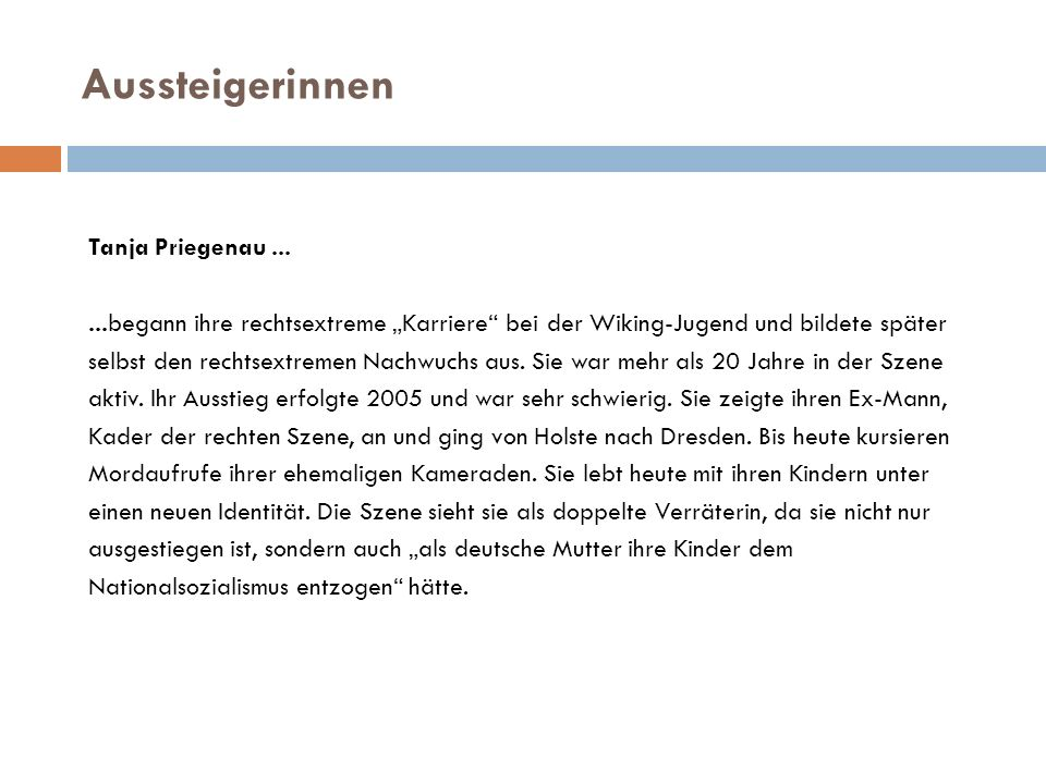 Aussteigerinnen Tanja Priegenau ...