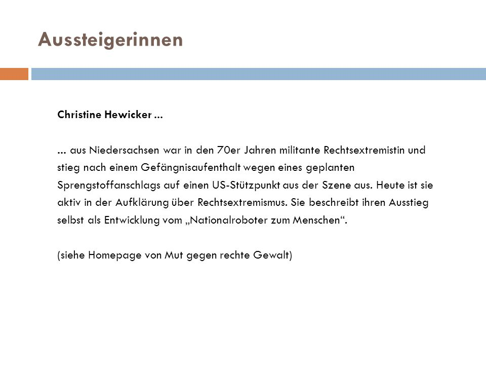 Aussteigerinnen Christine Hewicker ...