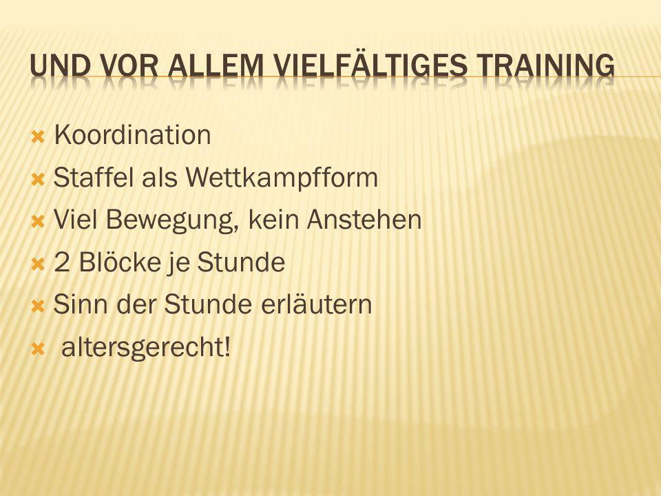 Und vor allem vielfältiges Training
