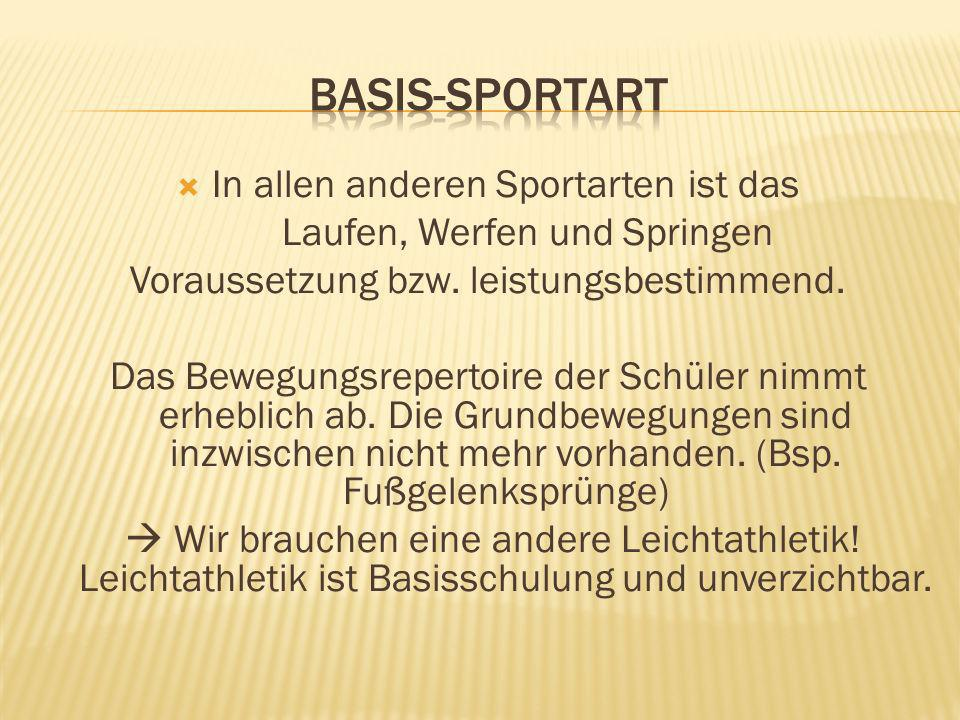 Basis-sportart In allen anderen Sportarten ist das