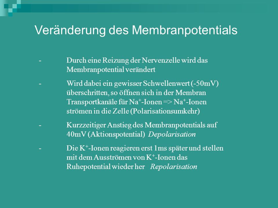 Veränderung des Membranpotentials
