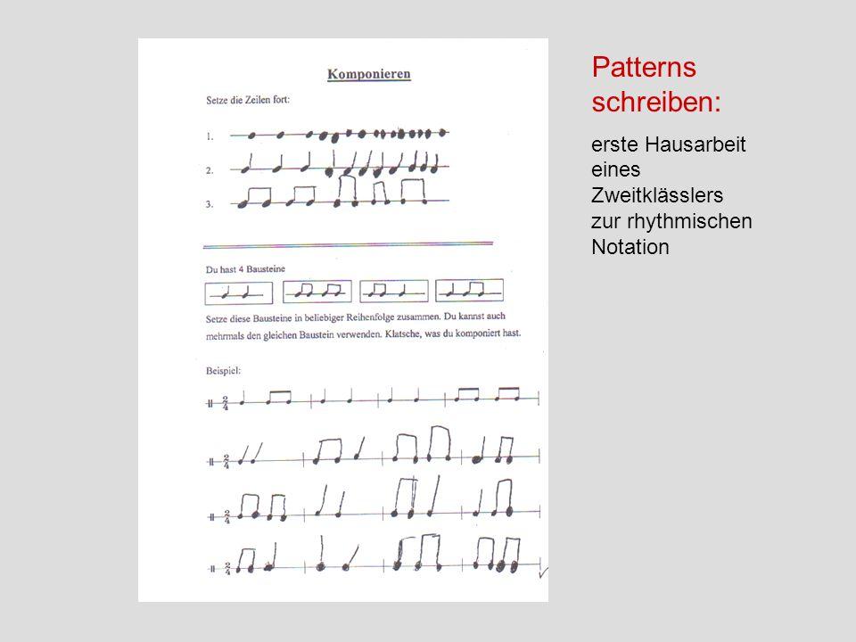 Patterns schreiben: erste Hausarbeit eines Zweitklässlers zur rhythmischen Notation