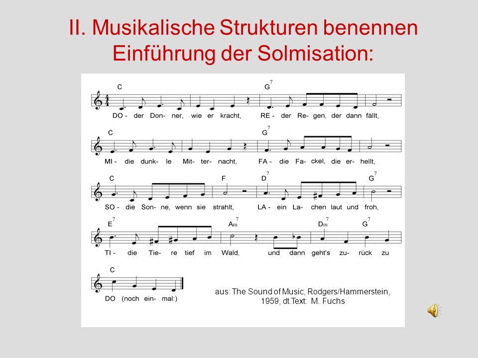 II. Musikalische Strukturen benennen Einführung der Solmisation: