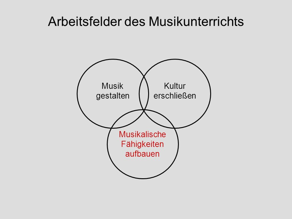 Arbeitsfelder des Musikunterrichts