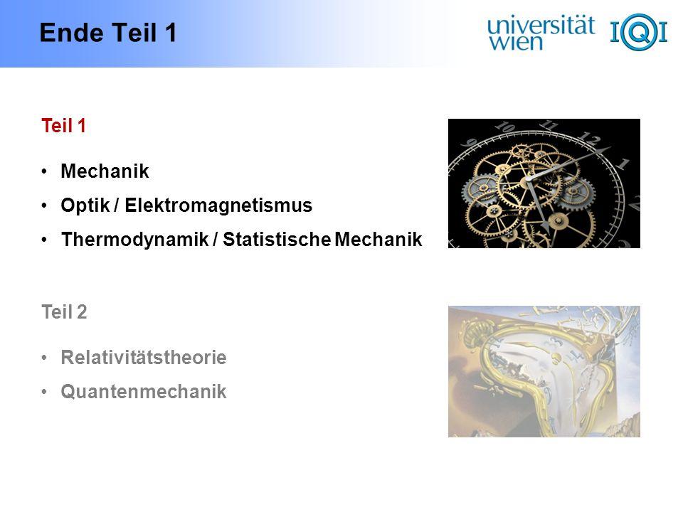 Ende Teil 1 Teil 1 Mechanik Optik / Elektromagnetismus