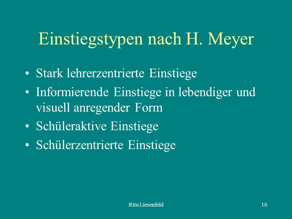Einstiegstypen nach H. Meyer