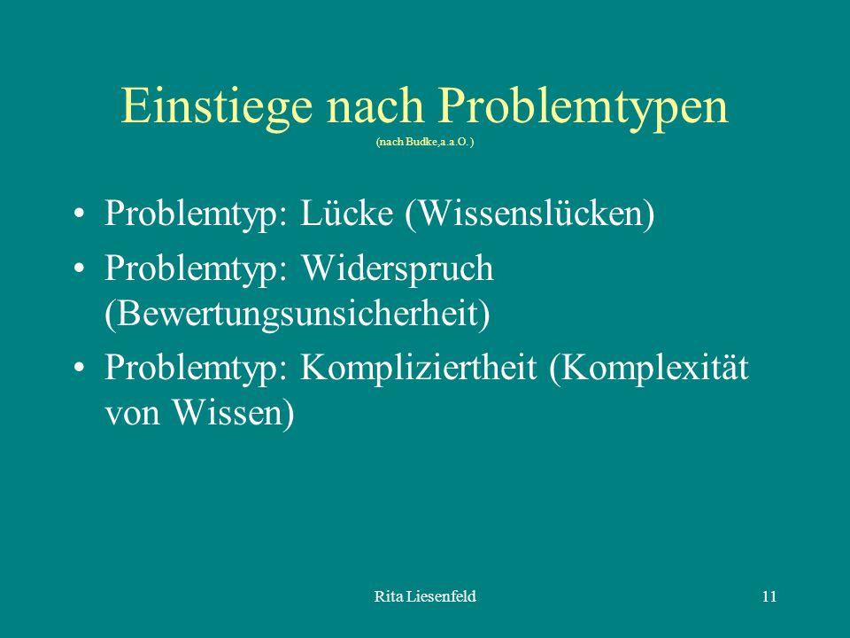 Einstiege nach Problemtypen (nach Budke,a.a.O. )