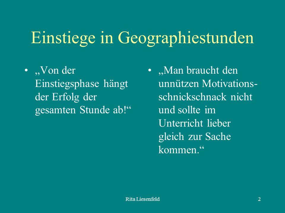 Einstiege in Geographiestunden