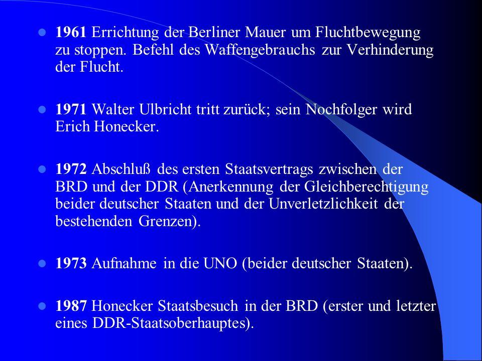 1961 Errichtung der Berliner Mauer um Fluchtbewegung zu stoppen