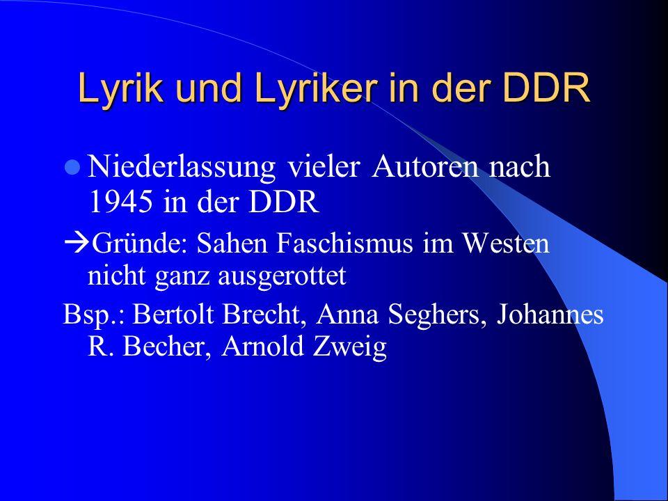 Lyrik und Lyriker in der DDR