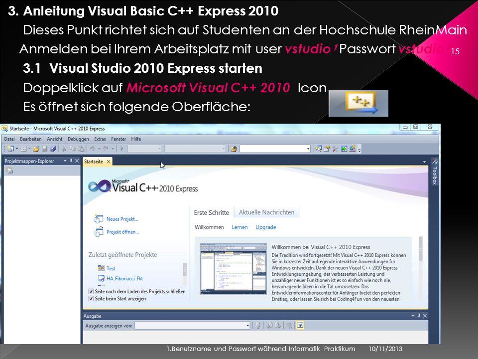 3. Anleitung Visual Basic C++ Express 2010