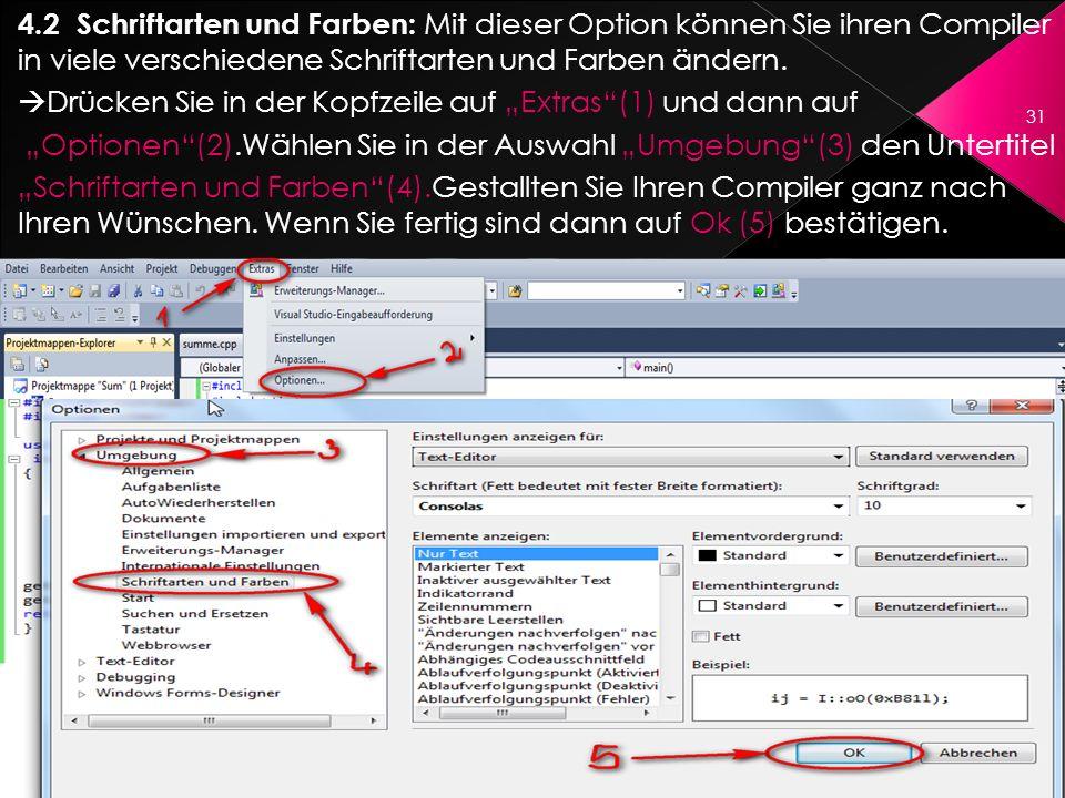 4.2 Schriftarten und Farben: Mit dieser Option können Sie ihren Compiler in viele verschiedene Schriftarten und Farben ändern.
