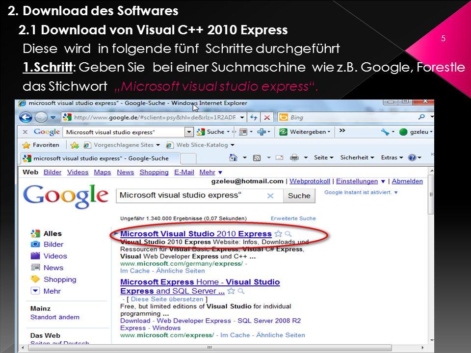 2. Download des Softwares