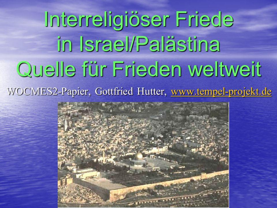 Interreligiöser Friede in Israel/Palästina Quelle für Frieden weltweit