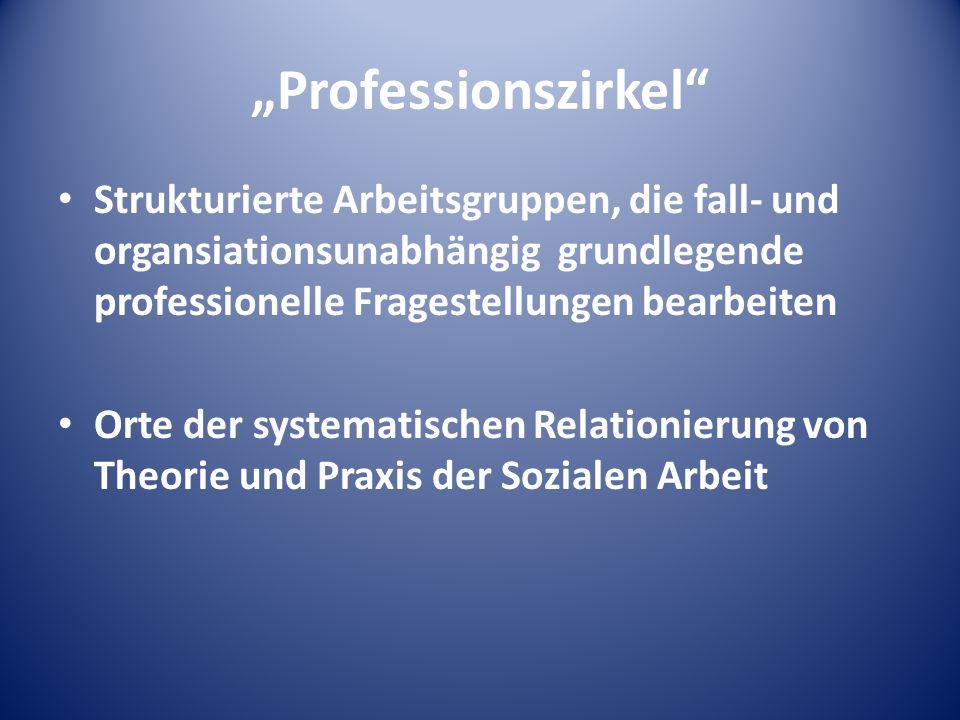 """""""Professionszirkel Strukturierte Arbeitsgruppen, die fall- und organsiationsunabhängig grundlegende professionelle Fragestellungen bearbeiten."""