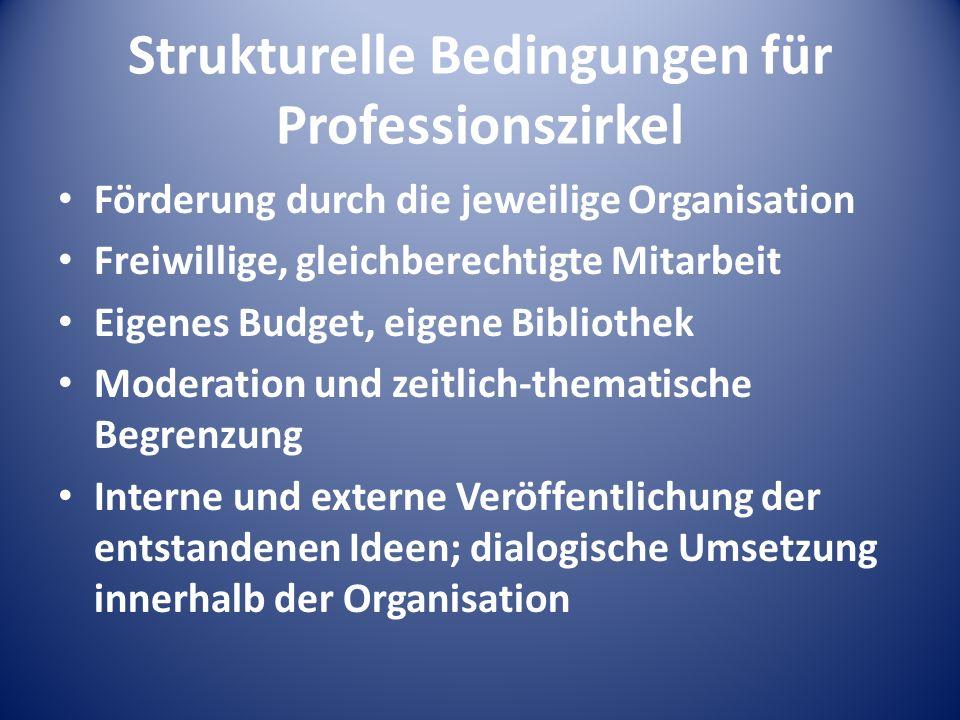 Strukturelle Bedingungen für Professionszirkel