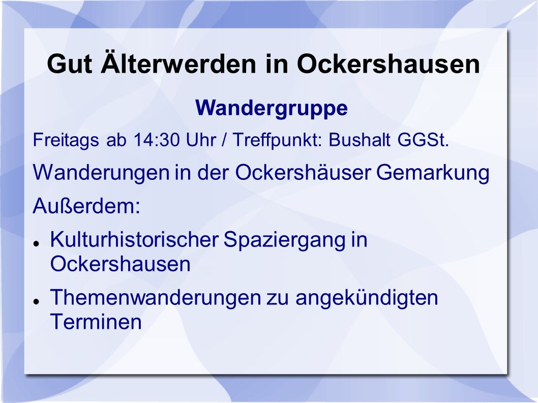 Gut Älterwerden in Ockershausen