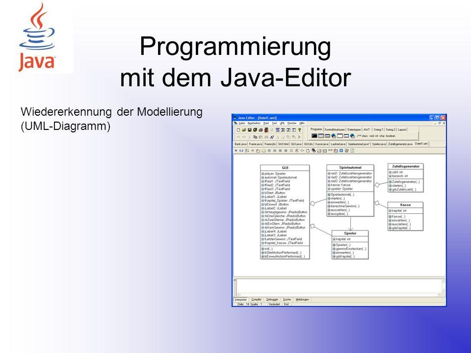 Programmierung mit dem Java-Editor