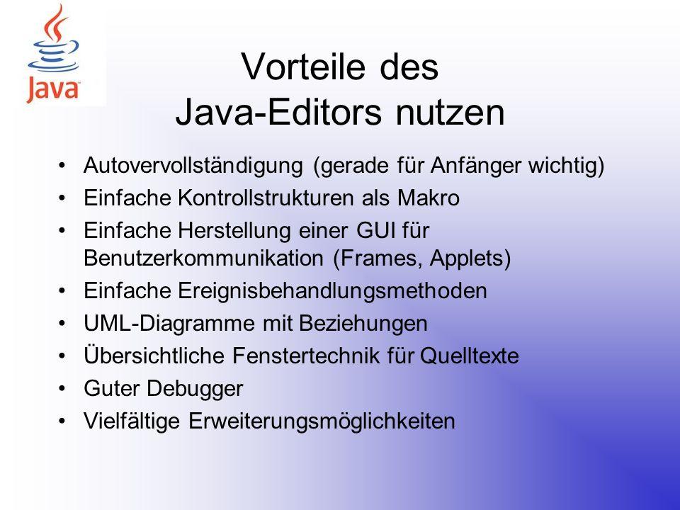 Vorteile des Java-Editors nutzen