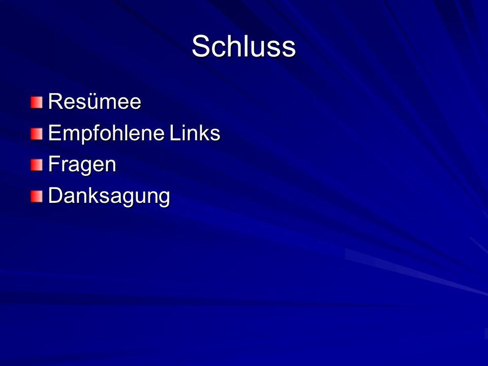 Schluss Resümee Empfohlene Links Fragen Danksagung