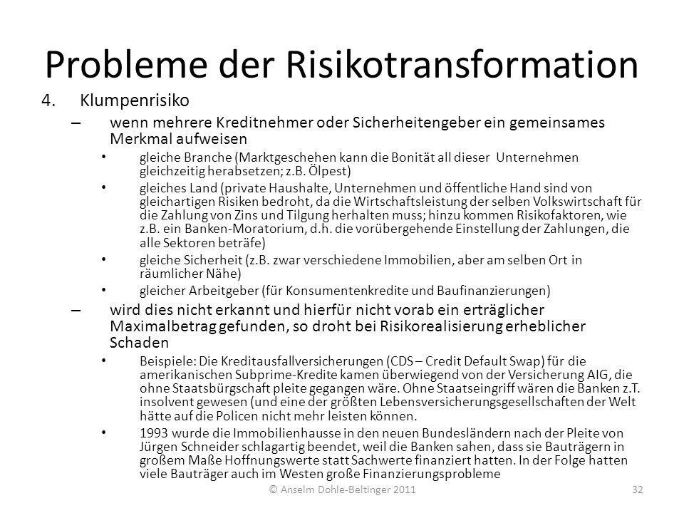 Probleme der Risikotransformation