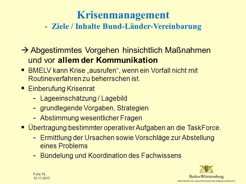 Krisenmanagement - Ziele / Inhalte Bund-Länder-Vereinbarung