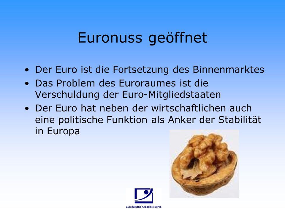 Euronuss geöffnet Der Euro ist die Fortsetzung des Binnenmarktes