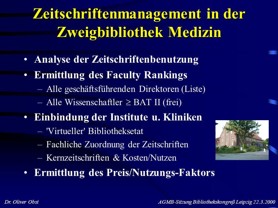 Zeitschriftenmanagement in der Zweigbibliothek Medizin