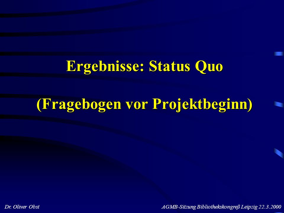 Ergebnisse: Status Quo (Fragebogen vor Projektbeginn)