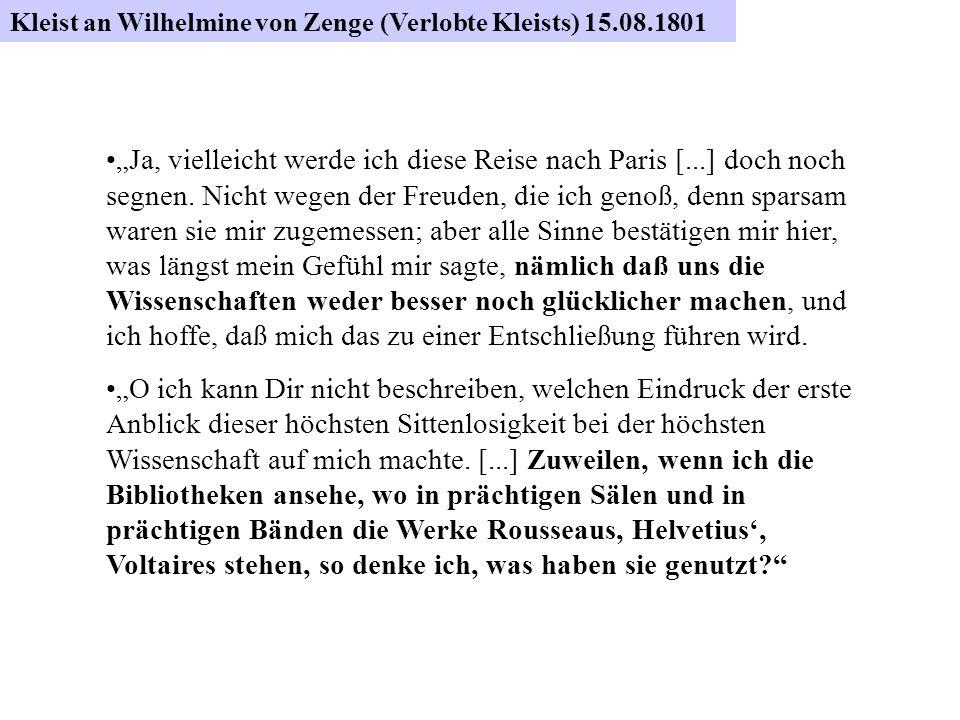Kleist an Wilhelmine von Zenge 15. August 1801