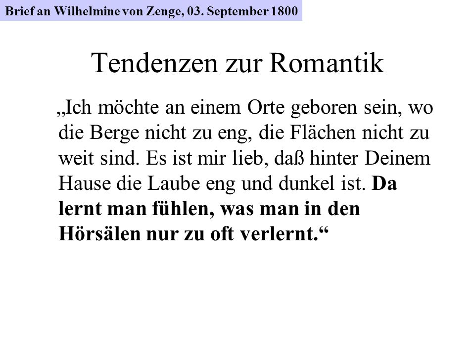 Tendenzen zur Romantik