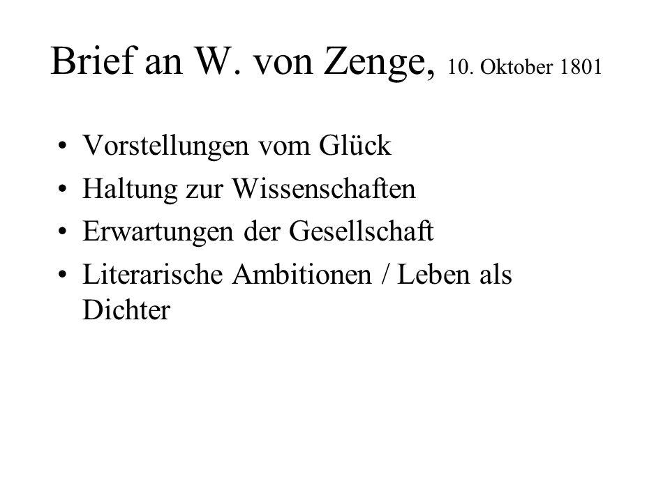 Brief an W. von Zenge, 10. Oktober 1801