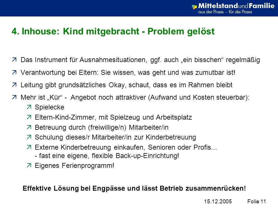 4. Inhouse: Kind mitgebracht - Problem gelöst