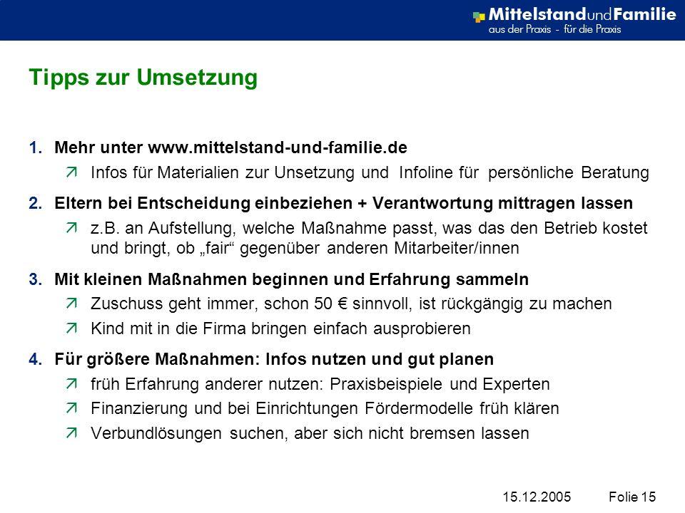 Tipps zur Umsetzung Mehr unter www.mittelstand-und-familie.de