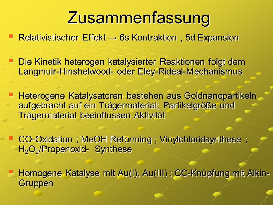 Zusammenfassung Relativistischer Effekt → 6s Kontraktion , 5d Expansion.
