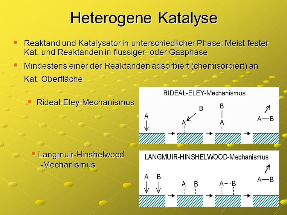 Heterogene KatalyseReaktand und Katalysator in unterschiedlicher Phase: Meist fester Kat. und Reaktanden in flüssiger- oder Gasphase.