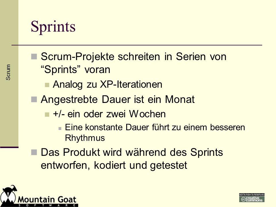 Sprints Scrum-Projekte schreiten in Serien von Sprints voran