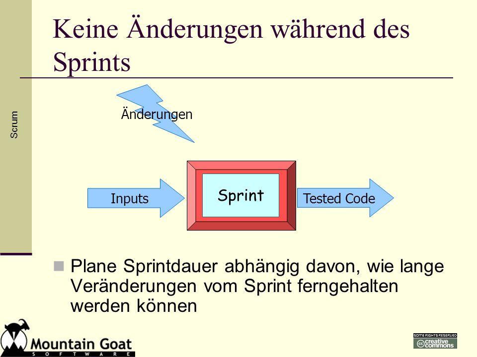 Keine Änderungen während des Sprints
