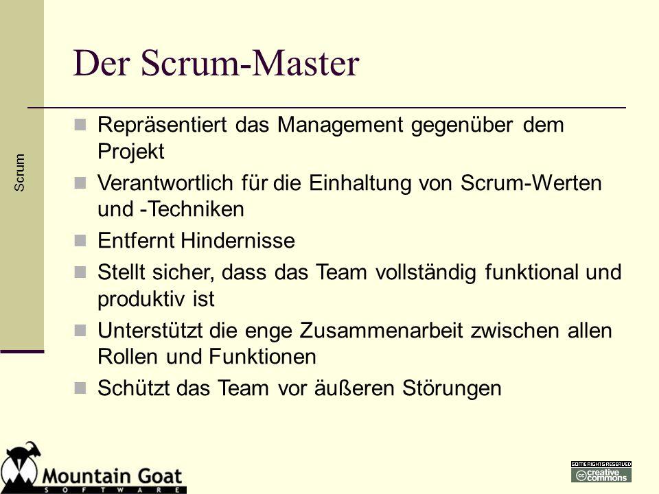 Der Scrum-Master Repräsentiert das Management gegenüber dem Projekt