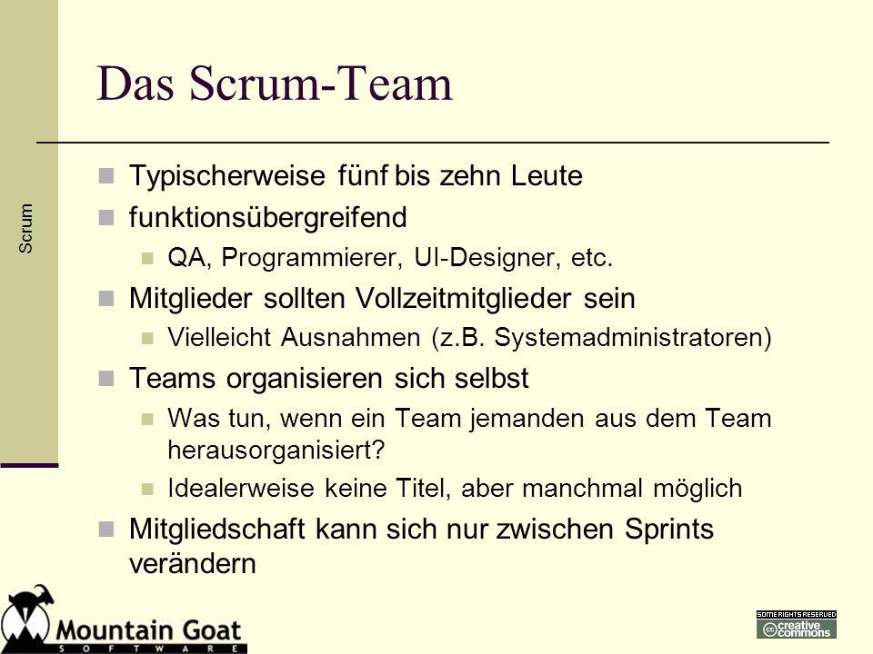 Das Scrum-Team Typischerweise fünf bis zehn Leute