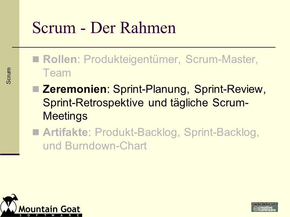 Scrum - Der Rahmen Rollen: Produkteigentümer, Scrum-Master, Team