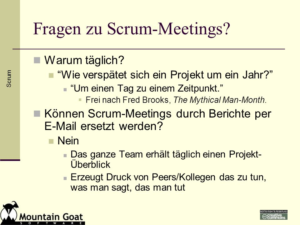 Fragen zu Scrum-Meetings