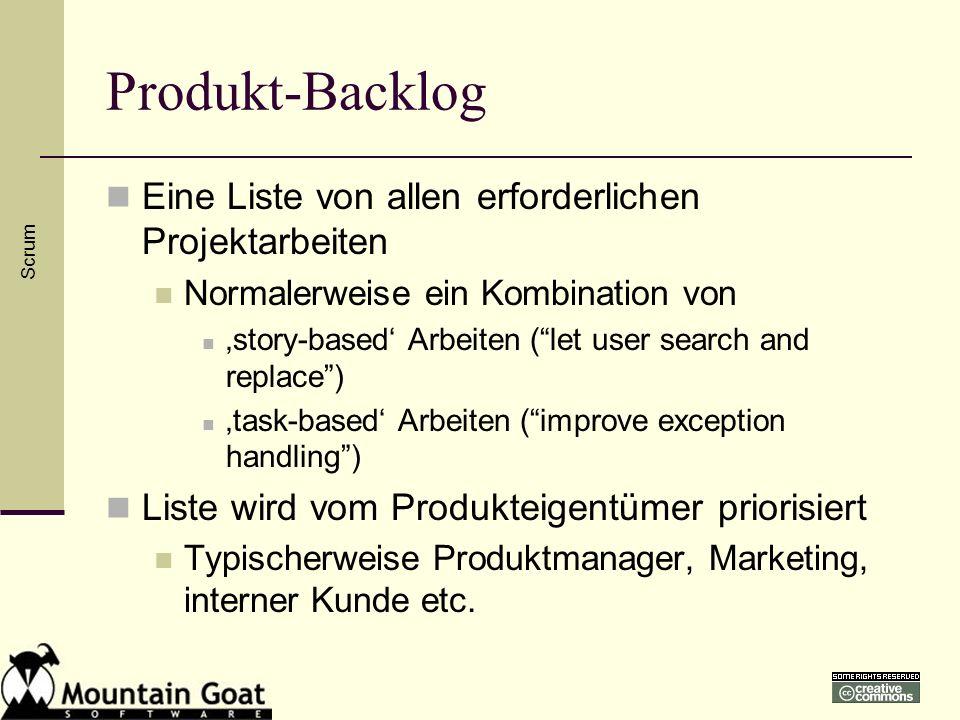 Produkt-Backlog Eine Liste von allen erforderlichen Projektarbeiten