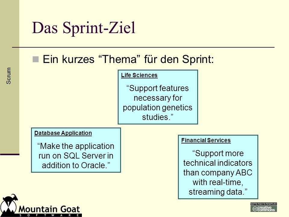 Das Sprint-Ziel Ein kurzes Thema für den Sprint: