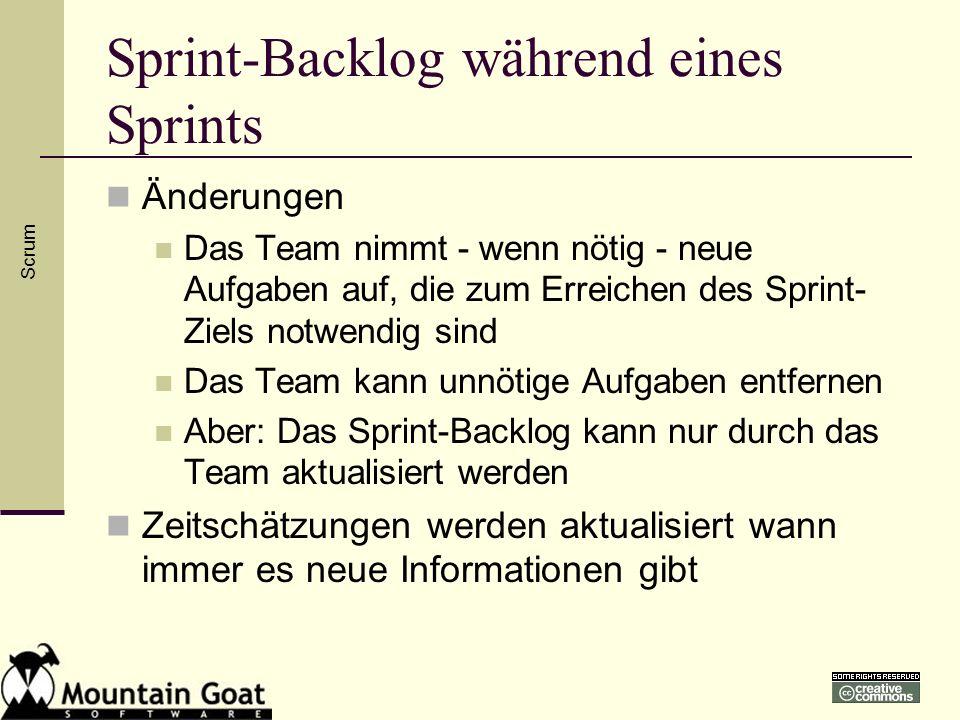 Sprint-Backlog während eines Sprints