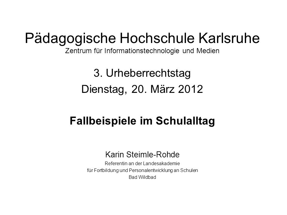 3. Urheberrechtstag Dienstag, 20. März 2012
