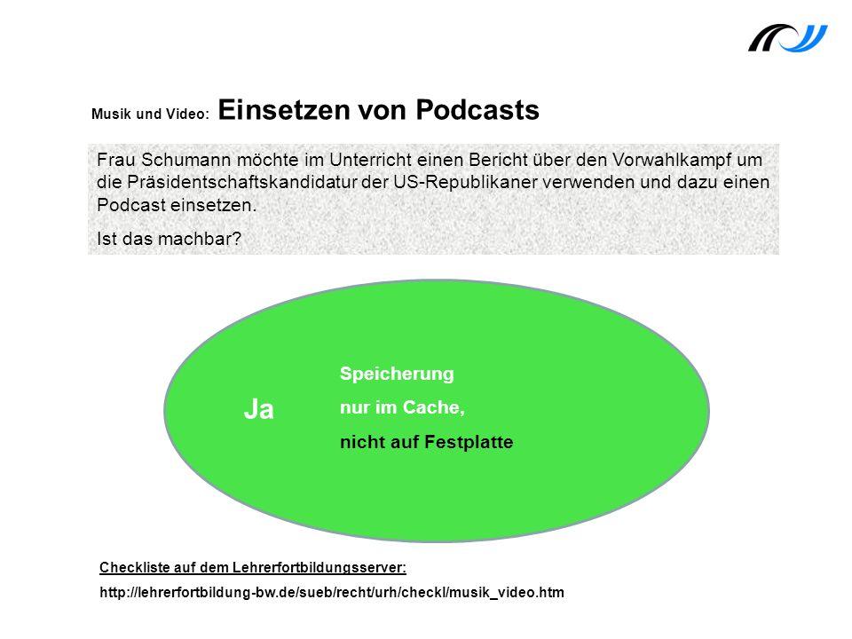 Musik und Video: Einsetzen von Podcasts