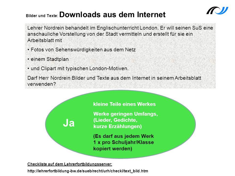 Bilder und Texte: Downloads aus dem Internet