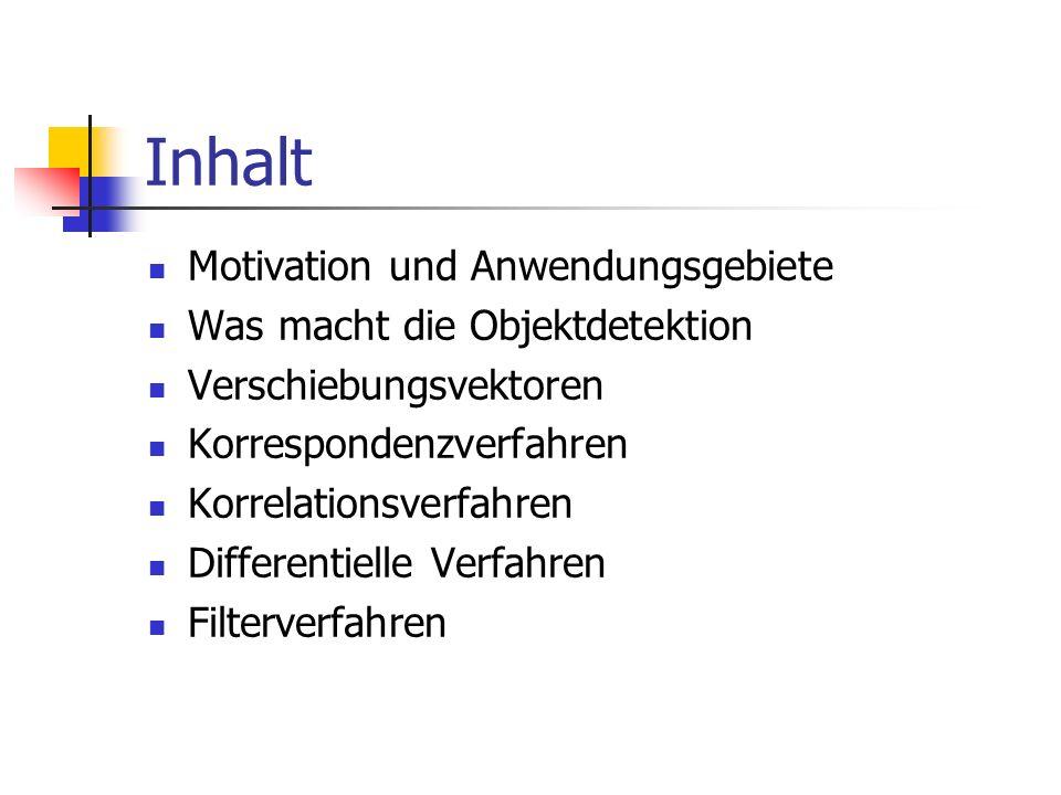 Inhalt Motivation und Anwendungsgebiete Was macht die Objektdetektion